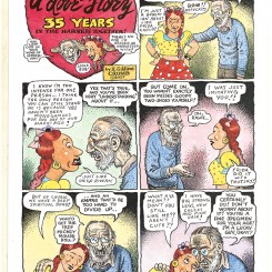 Aline Kominsky-Crumb and R. Crumb, A Love Story: 35 Years in the Harness Together!, page 1, 2007, Colored copies, 2 pages, Page 1: 13 7/8 x 10 inches (35.2 x 25.4 cm), Courtesy of the artists