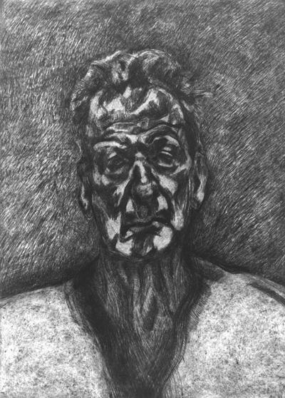 Self Portrait: Reflection, 1996, etching, edition of 46, 59.4 x 42.7 cm, Freud, Lucian (1922-2011) / © The Lucian Freud Archive / Bridgeman Images,  Bacon and Freud: Graphic Works, 18 January 2017 – 25 February 2017, Marlborough Graphics, London, marlboroughlondon.com 卢西恩·佛洛伊德,《肖像画:镜像》,1996,蚀刻版画,46版,59.4 x 42.7 cm,© The Lucian Freud Archive / Bridgeman Images,《弗朗西斯·培根和卢西恩·佛洛伊精选平面作品展》,2017年1月18日-2月25日,马乐伯平面设计,伦敦