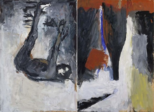 Georg Baselitz, Akt und Flasche (Nude and Bottle), Oil on canvas. Two parts; each: 98 1/2 x 67 inches, (Two parts; each: 250 x 170 cm), 1977 乔治·巴塞利兹,《Akt und Flasche (Nude and Bottle)》,布面油画,两幅,每幅:98 1/2 x 67英寸(250 x 170 cm),1977