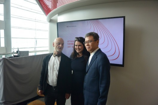(L to R) Dr Uli Sigg, Charlotte Appleyard and Budi Tek, following Mr Tek's talk at Swire Properties Lounge at Art Basel Hong Kong (Ran Dian images)