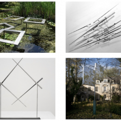 """Top left: George Rickey, Four Open Squares Horizontal Gyratory Tapered, 1984, stainless steel 17 x 5'5 in, No. 13, courtesy of Trinity House Hospice. Top right: George Rickey, N Lines Horizontal Hanging, 1967, stainless steel, unique, 84 x 24"""", courtesy Tate Modern, London and the Estate of George Rickey. Bottom left: George Rickey, Unstable Square Variation No. 3, 1971, stainless steel with wooden base, edition of 8, 28 x 20 x 3 in, courtesy of Marlborough Gallery Inc. and the Estate of George Rickey. Bottom right: George Rickey, Two Planes Vertical Horizontal II, Holywell Manor Garden, Balliol College, Oxford 1969, Stainless steel, 13'5 x 10'6"""". Photo courtesy Rob Judgesy"""