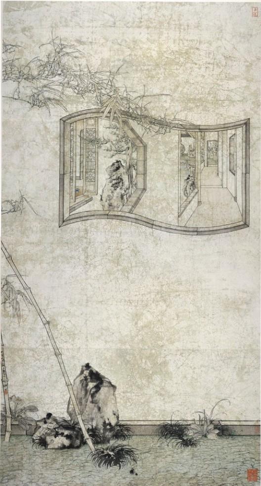 "鄭力,《故園心眼》,水墨設色紙本,240 x 128 cm,2017(圖檔由藝術家及漢雅軒提供) ZHENG Li,""Reflections of the Classical Garden"",Ink and Colour on Paper,240 x 128 cm,2017( Image Courtesy of the Artist and Hanart TZ Gallery)"
