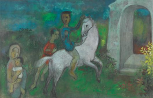 Vu Cao Dam (1908 - 2000), Le Départ, 1949. Ink and gouache on silk, 93 x 145 cm