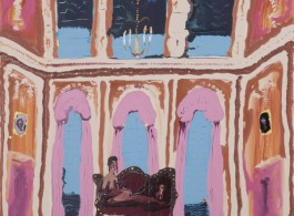 """Genieve Figgis """"Pink Stage"""", 2017 - Acrylic on canvas - 80 x 100 x 4 cm / 31 1/2 x 39 3/8 x 1 5/8 inches-© Genieve Figgis - Courtesy of the Artist and Almine Rech Gallery-Almine Rech Gallery Genieve Figgis - Pink Stage, 2017 - Acrylic on canvas - 80 x 100 x 4 cm / 31 1/2 x 39 3/8 x 1 5/8 inches / © Genieve Figgis. Courtesy of the Artist and Almine Rech Gallery"""