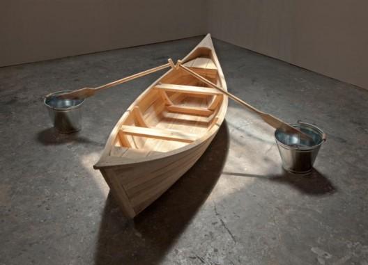 Zhou Wendou, Two Buckets Plan, 2017. Wood, water, galvanized metal buckets, 300 x 300 x 70 cm