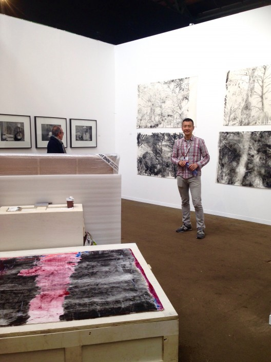 gallery 55, drawings by Yu Aijun, trees in the art zone