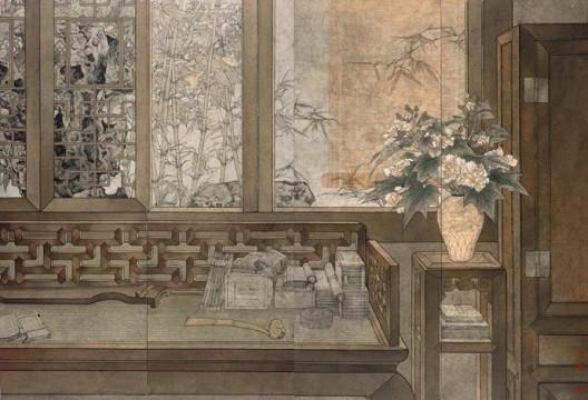 鄭力 Zheng Li《與誰同塵》Who is My Life's Companion? 1999-2002 水墨 設色 紙本Ink and Colour on Paper 170 x 248 cm (170 x 62 cm each, 4 panels)