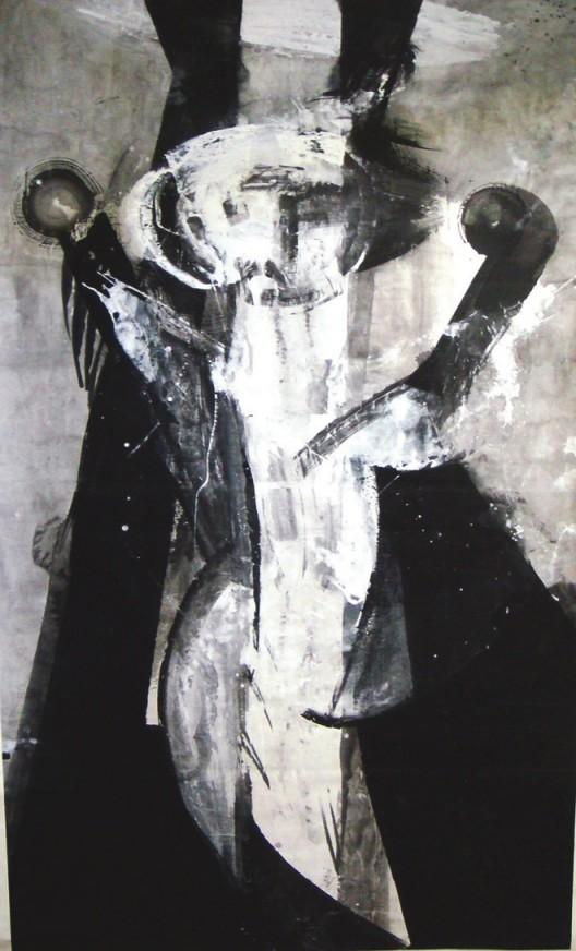 插图14 《无题1号》(一九八八年作, 宣纸、墨、丙烯,纵三四五厘 米,横一七八厘米),法伯藏。