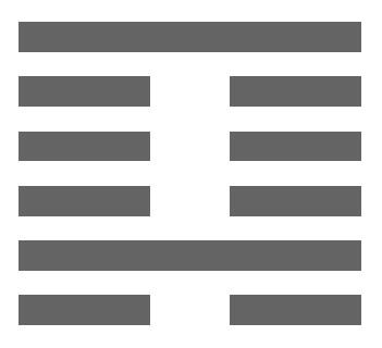 """插图2  每三爻组成一卦,""""蒙昧""""之""""蒙""""字即为一卦,两爻在上,一爻在下,恰似自然山水形态。王弼认为""""蒙""""代表年幼无知的状态,经培育教养可以启蒙。十七世纪画僧石涛则将""""蒙""""字与""""养""""字并用而得""""蒙养"""",意欲强调""""无知""""对画家的重要作用,学画人能因此而得益于自我培养,继而摆脱古人面目,更新气象。"""
