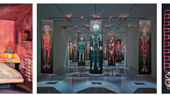 Caption (from left to right): The Room at the Top of the Stairs, 1983, Oil on Canvas, 91 x 127 cm, by Fu-Sheng KU, Courtesy of Eslite Gallery; Man Hole, 2014-2016, Oil Pastel and Paper, 55 x 237 cm, by HO Chun Ming, Courtesy of Ho Chun Ming Studio; Sew, 2015,Paper, 140 x 140 cm, by Xiyadie, Courtesy of Xiyadie;图注(从左至右):《秘密房间》,1983年,布面油画,91 x 72公分,顾福生,图片由诚品艺廊提供;《男洞》,2014-2016年,粉蜡笔、纸,55 x 237公分,一组两件,共计13组,侯俊明,图片由艺术家工作室提供;《缝》,2015年,剪纸,140 x 140公分,西亚蝶,图片由艺术家提供。