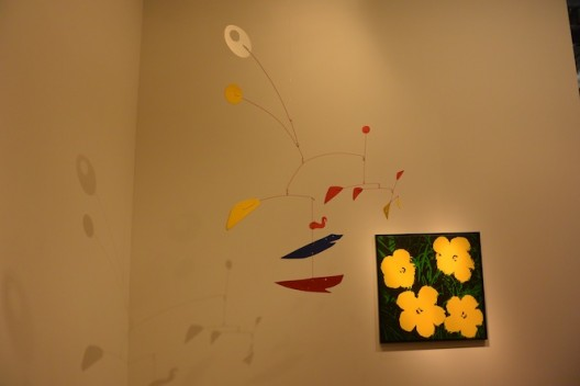 Alexander Calder (left) and Andy Warhol at Lévy Gorvy