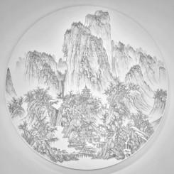 陳浚豪 Chen Chun-Hao,臨摹宋李成《晴巒蕭寺圖》 Imitating Solitary Temple Amid Clearing Peaks by Li Cheng, Song Dynasty,2016. 不鏽鋼蚊釘、畫布、木板 Mosquito nail, canvas, and wood,188 x 188 cm (image courtesy the artist and Tina Keng Gallery)