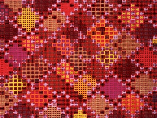 "Ding Yi丁乙 ""Appearance of Crosses"" 2010-6, Acrylic on tartan,120x160,2010, 示2010-6""丙烯、成品布 120x160cm 2010 (courtesy the artist and ShanghART)"