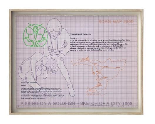 "Inga Svala Thorsdottir & Wu Shanzhuan, ""Thing's Right(s) Printed 2013, Article 2"", lithography, screen print on Stonehenge paper, 55.5 x 73 cm, 2013 Ed. 3/6(Courtesy of Long March Space) 吴山专 & 英格-斯瓦拉·托斯朵蒂尔,《物权版画2013 第二条》,纸上丝网、平板印刷,55.5 x 73 cm,2013 Ed. 3/6(图片由长征空间提供)"