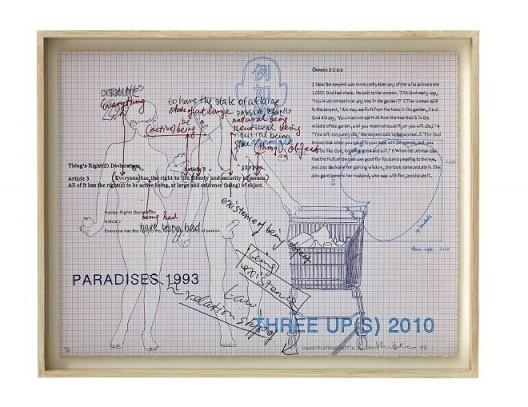 "Inga Svala Thorsdottir & Wu Shanzhuan, ""Thing's Right(s) Printed 2013, Article 3"", lithography, screen print on Stonehenge paper, 55.5 x 73 cm, 1993(Courtesy of Long March Space) 吴山专 & 英格-斯瓦拉·托斯朵蒂尔,《物权版画2013 第三条》,纸上丝网、平板印刷,55.5 x 73 cm,1993(Courtesy of Long March Space)"