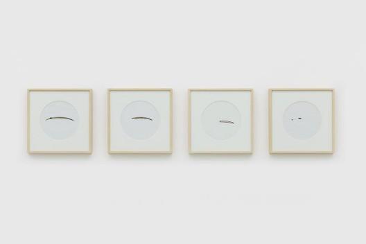 "《Sun Drawing》,阳光,热敏纸,21 × 29.7 cm ,装裱尺寸32 x 32 cm,2014 ""Sun Drawing"", sunlight, thermal paper, wood, 21 × 29.7 cm, framing: 32 x 32 cm, 2014"