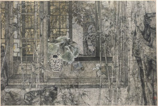 郑力,《书香门第》,水墨 设色 纸本,1999(图片由艺术家及汉雅轩提供) ZHENG Li,