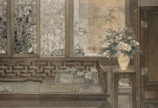 郑力,《与谁同尘》,水墨 设色 纸本,Ink and Colour on Paper,170 x 248 cm,1999-2002(图片由艺术家及汉雅轩提供) ZHENG Li,