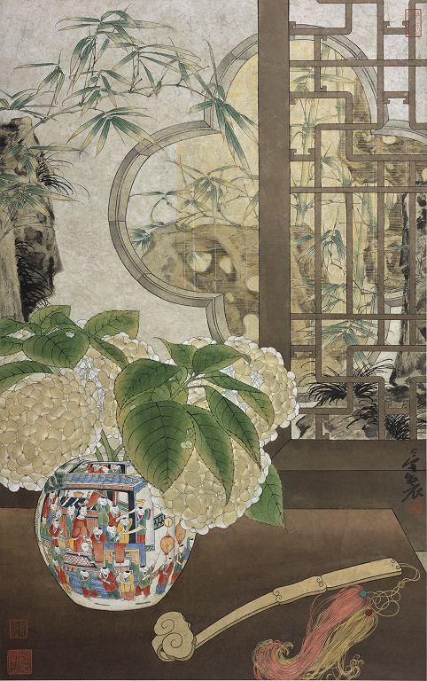 郑力,《子孙满堂》,水墨 设色 纸本,109 x 68 cm,2002(图片由艺术家及汉雅轩提供) ZHENG Li,