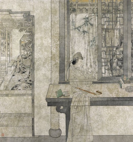 郑力,《游园惊梦》,水墨 设色 纸本,210 x 198 cm,2009(图片由艺术家及汉雅轩提供) ZHENG Li,