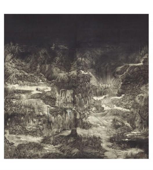"WONG Chung-yu, ""The Phantasm 5"", Ink and colour on silk, Diptych: 183 x 183 cm, 2015 (Image courtesy of the Artist and Hanart TZ Gallery) 黄琮瑜,《幻景图5》,水墨 设色 绢本,双联屏 : 183 x 183 cm,2015(图片由艺术家及汉雅轩提供)"