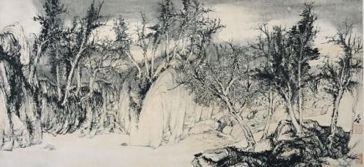 郑力,《谷雨》,水墨 纸本,37 x 80 cm ,2002(图片由艺术家及汉雅轩提供) ZHENG Li,