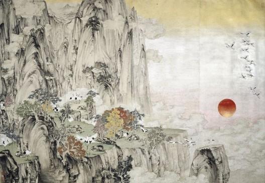 郑力,《瑞鹤图》,水墨 设色 纸本,187 x 274 cm,2002(图片由艺术家及汉雅轩提供) ZHENG Li,