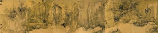 郑力,《狮子林》,水墨 金笺,41 x 189 cm,2014(图片由艺术家及汉雅轩提供) ZHENG Li,