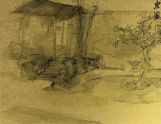 郑力,《东园》,水墨 金笺,2012,2012(图片由艺术家及汉雅轩提供) ZHENG Li,