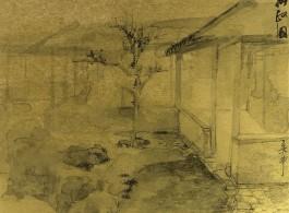 "郑力,《拙政园》,水墨 金笺,38 x 45.5 cm,2008(图片由艺术家及汉雅轩提供) ZHENG Li, ""The Humble Administrator's Garden (Zhuozheng Yuan)"", Ink on Gold Paper, 38 x 45.5 cm, 2011 (Image Courtesy of the Artist and Hanart TZ Gallery)"