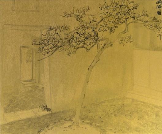郑力,《网师园》,水墨 金笺,38 x 45.5 cm,2008(图片由艺术家及汉雅轩提供) ZHENG Li,
