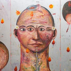 Entang Wiharso, Melt (triptych), 2008, Acrylic, spray paint, car paint, collaged photo details and oil on canvas. 300 x 600 cm. Credit: Collection of Museum of Modern and Contemporary Art in Nusantara (Museum MACAN)《Melt》[三联画],Entang Wiharso,丙烯,噴漆,汽車漆,拼貼照片細節,油彩及帆布,300x600公分,2008年, 作品為努桑塔拉现当代艺术博物馆收藏