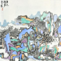Wu Ke, Leisures by the Waters, 2017, Ink on paper, 69.5 x 69.5cm (image courtesy the artist and arTTouch)