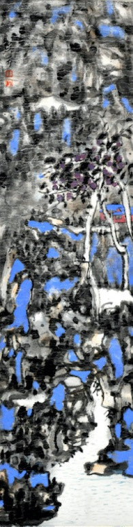 Wu Ke, Streams under the Twilight, 2017, Ink on paper, 24.5 x 92cm (image courtesy the artist and arTTouch)