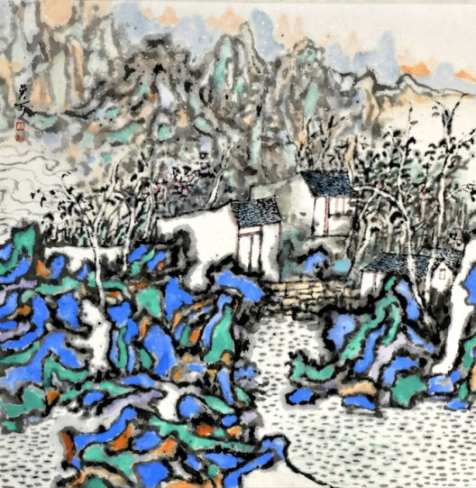 Wu Ke, Wannan Houses, 2017, 69.5x69.5 cm, ink and color on paper (image courtesy the artist and arTTouch)