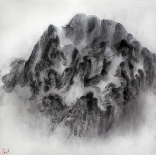 """徐龙森,《云图之一》,水墨纸本,122 x 122 cm,2015(图片由艺术家提供) XU Longsen, """"Cloud Series No. 1"""", Ink on Paper, 122 x 122 cm, 2015 (Image Courtesy of the Artist)"""