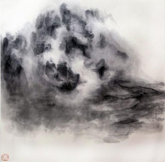 """徐龙森,《云图之二》,水墨纸本,122 x 122 cm,2015(图片由艺术家提供) XU Longsen, """"Cloud Series No. 2"""", Ink on Paper, 122 x 122 cm, 2015 (Image Courtesy of the Artist)"""