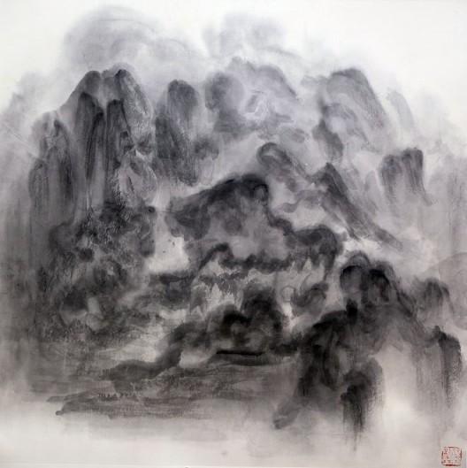 """徐龙森,《云图之五》,水墨纸本,122 x 122 cm,2015(图片由艺术家提供) XU Longsen, """"Cloud Series No. 5"""", Ink on Paper, 122 x 122 cm, 2015 (Image Courtesy of the Artist)"""