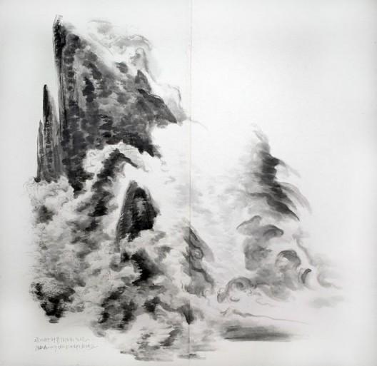 """徐龙森,《杜甫诗意图之一》,水墨纸本,150 x 147 cm,2010(图片由艺术家提供) XU Longsen, """"Poetic Spirit of Du Fu No. 1"""", Ink on Paper, 150 x 147 cm, 2010 (Image Courtesy of the Artist)"""
