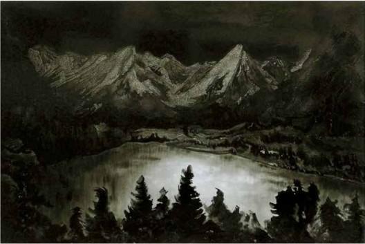 《湖光1913-2013》,蛋壳漆画,125×180 cm,2013