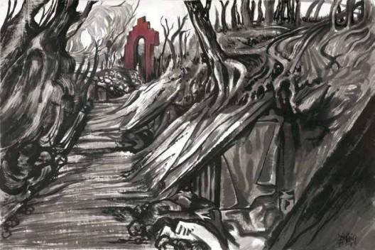 《还是山水画1914-2014》,墨、丙烯、宣纸,120×232 cm,2015