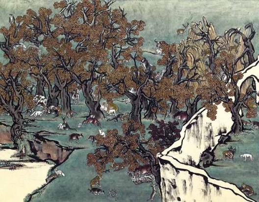 《芥子园1》,绢本工笔重彩,110×150 cm,2011