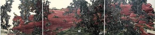 《十一日谈—红岩》,三屏绢本工笔重彩,142×608 cm,2013-2016(142×145 cm / 142×243 cm / 142×201 cm)(Photo: Alan Yang)