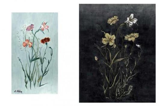 《还是花鸟画1913-2013》,水彩,25.5×14.3 cm,2013(左);《还是花鸟画1913-2013》,绢本工笔重彩,90×70 cm,2013(右)