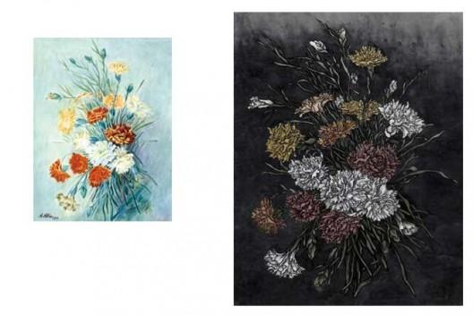 《还是花鸟画1913-2013》,水彩,32.4×24.4 cm, 2013(左);《还是花鸟画1913-2013》,绢本工笔重彩,90×70 cm,2013(右)