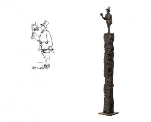 《花少年1924-2014》,纸上炭笔,14×9.5 cm,2014(左);《花少年1924-2014》,铜雕,1/3版,212×20×20 cm,2014(右)