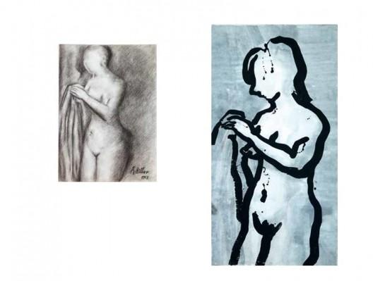 《伊娃1911-2011》,纸上炭笔,41.7×29.6 cm,2014(左)(Photo: Marc Domage);《伊娃1911-2011》,墨、丙烯,185×96 cm,2014(右)(Photo: Marc Domage)
