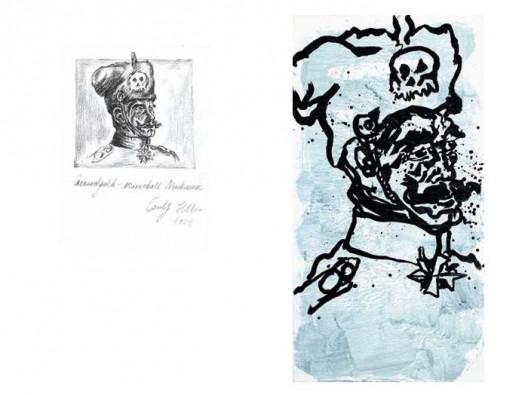 《麦元帅1924-2014》,纸上炭笔,20.5×15.3 cm,2014(左)(Photo: Marc Domage);《麦元帅1924-2014》,墨、丙烯,185×96 cm,2014(右)(Photo: Marc Domage)