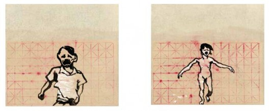 《跑吧1》,水墨,习字纸,61.5×68.5 cm,2014(左);《跑吧2》,2014年,水墨,习字纸,61.5×68.5 cm,2014(右)