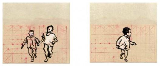 《跑吧3》,2014年,水墨,习字纸,61.5×68.5 cm,2014(左);《跑吧4》,2014年,水墨,习字纸,61.5×68.5 cm,2014(右)